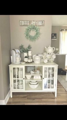 Put THIS coffee bar in MY kitchen NOW! Love this coffee nook setup and all the … Put THIS coffee bar in MY kitchen NOW! Love this coffee nook setup and all the … Coffee Nook, Coffee Bar Home, Home Coffee Stations, Coffee Bar Ideas, Coffee Bar Design, Beverage Stations, Coffee Corner Kitchen, Coffee Island, Drink Coffee