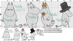 Bilderesultat for moomin knitting pattern Cross Stitch Baby, Cross Stitch Animals, Cross Stitch Charts, Cross Stitch Designs, Cross Stitch Patterns, Diy Embroidery, Cross Stitch Embroidery, Embroidery Patterns, Knitting Charts