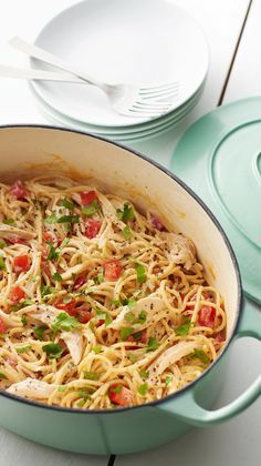 Just a lil' kick of jalapeño cream cheese amps up this summery pasta that comes together in under 30 minutes (and without a sink full of dirty dishes). It's a great way to use up leftover rotisserie chicken!