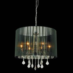 buy Verona Contemporary String Drum Shade Crystal Round Chandelier Polished Chrome with Black / White / Silver Shade 6 Lights online Drum Shade Chandelier, Chandelier Lighting Fixtures, Dining Chandelier, Wood Bead Chandelier, Black Chandelier, Contemporary Chandelier, Home Lighting, Chandelier Ideas, Home Depot