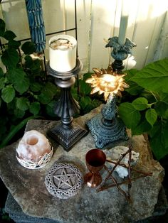 beautiful altar - Pinned by The Mystic's Emporium on Etsy Wiccan Alter, Pagan Altar, Wicca Witchcraft, Pagan Witch, Chandeliers, Witch Cottage, Witch House, Home Altar, Altar Decorations