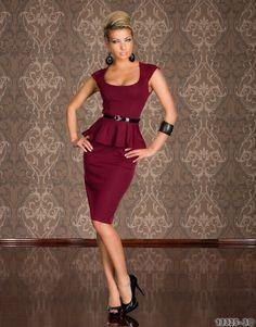 For sizing chart, visit http://www.oneglobalmall.com/collections/dresses/products/o-neck-knee-length-peplum-pencil-dress-burgundy  Gender: Women Waistline: Natural Dresses Length: Knee-Length Silhouette: Sheath Neckline: O-Neck Sleeve Length: Short Decoration: Peplum Sleeve Style: Regula...