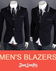 Blazer Korea Pria Upright Collar List Grey