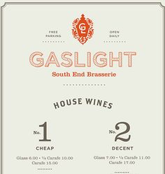 Gaslight Menus Gaslight is an American Brasserie in Boston's South End district. The menus incorporate the feel of a traditional brasserie with an American twist. Designed at Tank Design. Vintage Menu, Vintage Type, Vintage Design, Retro Design, Print Design, Vintage Modern, Vintage Typography, Typography Letters, Lettering