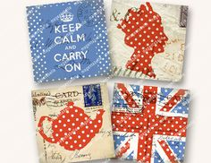 2.5in VINTAGE BRITISH ICONS squares Keep Calm by MagentaBelle, $3.99