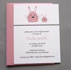 Pink Bunny A2 Flat Note Baby Shower Invitations by RatDogInk, $17.00