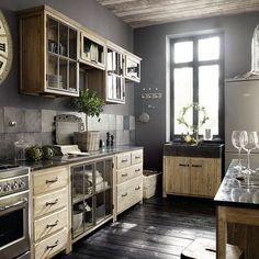 "Cozy kitchens:  ""Something about this Kitchen I love---maybe there is storage on the wall you don't see."""