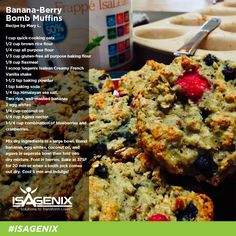 Whey Protein Banana-Berry Muffins #isagenix #healthyrecipes