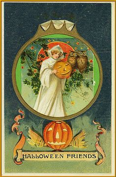 """""""Hallow'En Friends"""" Girl Carrying Pumpkin 2 Owls Picture in Diamond Ring Halloween Magic, Halloween Items, Halloween Night, Fall Halloween, Happy Halloween, Halloween Sayings, Retro Halloween, Vintage Halloween Images, Vintage Holiday"""