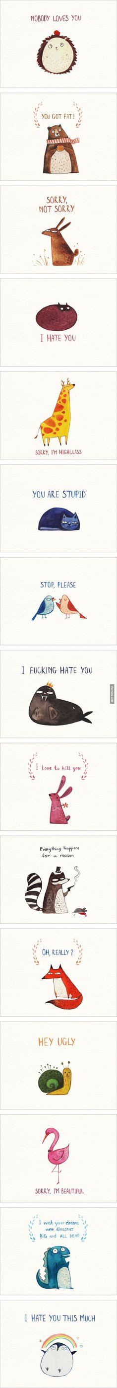 Why would someone spend their time, money or just attention to send these cute (but offensive) postcards to people they hate? O.o  15 Cute Postcards For Your Enemies