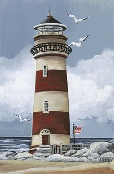 lighthouse B by Debbi Wetzel – leinwandkunst Lighthouse Drawing, Lighthouse Art, Lighthouse Pictures, Beach Art, Pictures To Paint, Landscape Paintings, Landscape Photos, Painted Rocks, Watercolor Paintings