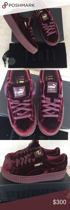 Rihanna Fenty Puma Wine Velvet Creepers Sneakers 9 Brand new in box are these Fenty Puma Creepers by Rihanna. Sold out in less than 5 minutes! I bought 2 pairs, one for me and one for my posh ladies! Get this one while you can and it should be there in time for the holidays if you order TODAY!!!! Lovin\' Um!!! So much cuter in person than the pics show!!! Be the coolest parent, aunt, uncle, brother, sister, on the block and get these for any girl you love!!! Puma Shoes Sneakers