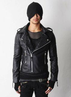 Men's Spiked Jackets | Blade Spiked Studs Leather Biker Jacket - Blk or Silver Spikes