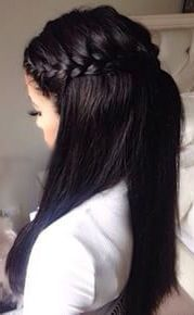 Straight half up half down hair with braids #gorgeoushair