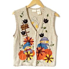 Scarecrow and Pumpkins Fall Halloween Thanksgiving Ugly Sweater Vest Sweater Shop, Ugly Sweater, Sweaters, Thanksgiving Sweater, Fall Pumpkins, Spooky Halloween, Being Ugly, Vest, Denim