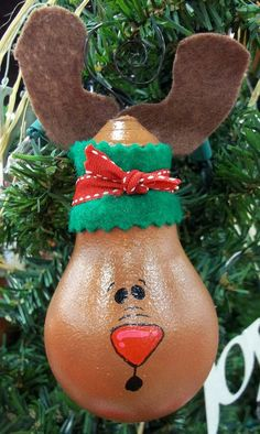 Christmas light bulb ornament Rudolf by BikisBootique on Etsy, $10.00