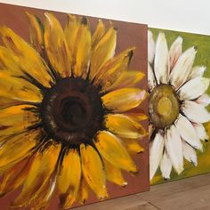 Large Original Sunflower Painting on Wood Yellow Flower Art Autumn Painting, Painting On Wood, Painting & Drawing, Arte Pallet, Sunflowers And Daisies, Sunflower Art, Diy Canvas Art, Mural Art, Art Projects
