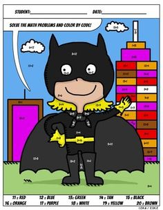 Don't like batwoman but maybe have other stuff too. Have fun with these Common Core color by code worksheets :)