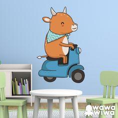 Vinilo infantil WAWAWIWA: Vaca y moto Vespa #vinilo #decoracion #wawawiwa #pared #infantil #habitacion #vespa #TeleAdhesivo Motos Vespa, Tweety, Disney Characters, Fictional Characters, Family Guy, Disney Princess, Google Search, Animals Of The Rainforest, Cow