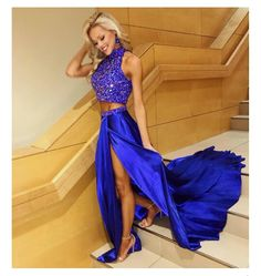 2 piece cobalt blue prom dress Sherri Hill