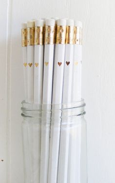 White Pencils with Gold Foil Petite Heart
