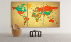 Large World Map Canvas Wall Art of 3 or 4 or 5 by CanvasFactoryCo Canvas Frame, Canvas Wall Art, Canvas Prints, Modern Artwork, Contemporary Art, Large World Map Canvas, Push Pin World Map, Panel Wall Art, Oil Painting Abstract