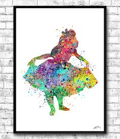Alice in Wonderland Watercolor Print llustrations Kid's Room Wall Poster Giclee Wall Decor Home Decor Wall Hanging Disney art Alice print