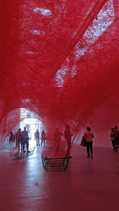 "Chiharu Shiota: ""Uncertain Journey"" Installation view at gallery Blain/Southern, Berlin; photo Beatrijs Sterk"