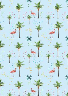 pattern palm tree flamingo pink dot blue illustration print herosdefrance