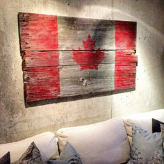A client came into the shop yesterday with an idea for a project - the Canadian flag on barn board. We looked for just the right boards… Barn Board Crafts, Barn Board Projects, Wood Projects, Woodworking Projects, Barn Board Wall, Barn Board Signs, Barn Boards, Wood Supply, Wood Flag