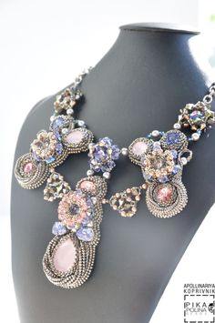"""Купить Колье """"Гортензия"""" - колье из бисера и камней, колье с кристаллами, необычное колье, необычное украшение"""