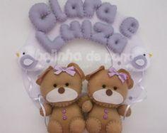 Enfeite Porta Maternidade Ursas Gêmeas