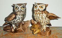 Vintage Figurines, Owls, On A Branch, Brown, Homco, Porcelain, Owl Figurines, Owl Decor, Book Ends
