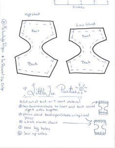 Simple Pattern for making knickers for your girls. Works well with T-Shirt material. For personal use only. Barbie Knitting Patterns, Barbie Patterns, Doll Clothes Patterns, Clothing Patterns, Sewing Patterns, Sewing Tutorials, My Life Doll Clothes, Barbie Clothes, Diy Clothes