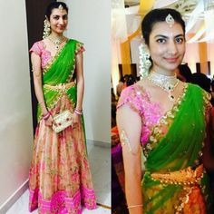 For every Southern girl, is the first auspicious occassion. Celebrating the grandeur of such an event is called a Half Saree Lehenga, Lehenga Gown, Saree Dress, Kids Lehenga, Lehenga Blouse, Anarkali, Half Saree Designs, Lehenga Designs, Saree Blouse Designs