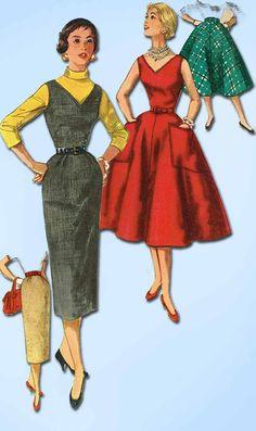 1950s Vintage Simplicity Sewing Pattern 1235 Uncut Misses Dress or Jumper Sz 13