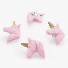 These cute little unicorn push pins are here to save the day by pinning up your important papers. Includes 5 Unicorn Pins Pink and Gold By Mustard FREE Rainbow Unicorn, Unicorn Party, Unicorn Gifts, Unicorn Books, Drawing Pin, Design3000, Unicorns And Mermaids, Little Unicorn, Shops