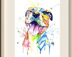 Pitbull Sadie the Pitbull Pitbull Watercolor by freeinthelines