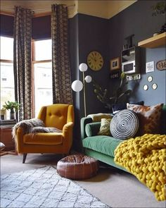 Find tons of decor inspiration in this quirky and colorful home in the UKBold and versatile home decor styling ideas apartment eclectic living room designs with a beautiful blend of interior art SHAIROOM. Room Design, Home, Cozy House, Eclectic Home, House Interior, Apartment Decor, Interior Design Living Room, Colorful Eclectic Living Room, Living Room Designs
