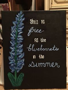 """She's Like Texas"" bluebonnet canvas painting. -Elena Gonzalez"