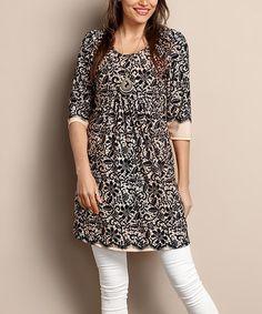 984109a7d96 Reborn Collection Black   Cream Floral Empire-Waist Tunic Dress - Plus