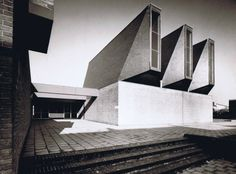 "germanpostwarmodern:  Church and Community Center ""De Ark"" (1967) in Schaesberg, the Netherlands, by Peter Sigmond"