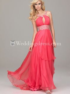 formal prom dress for special occasion,chiffon dress,coral dress,beaded neckline long dress