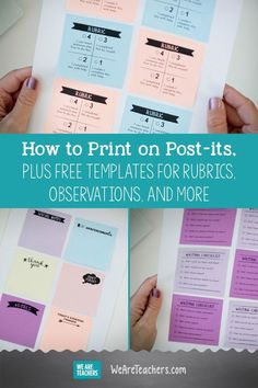 How to print on post-its. Plus FREE templates for rubrics, observations, and more. When you're a teacher you are constantly writing and rewriting notes over and over again. We decided to help you out by creating a solution: printing on Post-its. Classroom Organisation, Teacher Organization, Teacher Hacks, Classroom Decor, Classroom Libraries, Organized Teacher, Teacher Notes, Elementary Teacher, Elementary Education