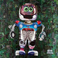Lucas, o menino robô - collage sobre MDF - 2015 - colagem de Silvio Alvarez - arte, art, collage, colagem, collage art, collage artist, paper, papel, revistas, recortes, sustentabilidade, reciclagem, reaproveitamento, arte ambiental, brazilian art, silvio Alvarez, surrealism, surrealismo, surreal, collagework, robo, androide, sucata, robo de colagem, lixo, reaproveitamento, recycle, computador, pecas de computador, menino, carcaca, descarte, futuro, internet, virtual, nerd