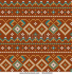 Traditional knitting pattern for Ugly Sweater, browvector seamless pattern