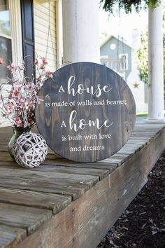 Wooden sign I A house consists of walls and beams. I wooden sign with circle. I wall hanging. I wooden sign Home Renovation, Home Remodeling, Wood Circles, Diy Wood Signs, Wall Signs, Trendy Home, Home Signs, Wood Crafts, Wood Projects