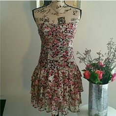 Adorable floral ruffle dress!!!! Super adorable flirty fun floral ruffle dress!!! Worn once....awesome condition!!! Express Dresses