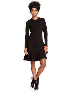 DKNY Cascade Ruffle Crewneck Dress