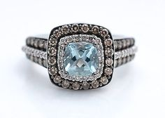 LeVian Aquamarine 3/4 ct Chocolate Diamonds RING 14 KT White Gold NEW WITH TAGS